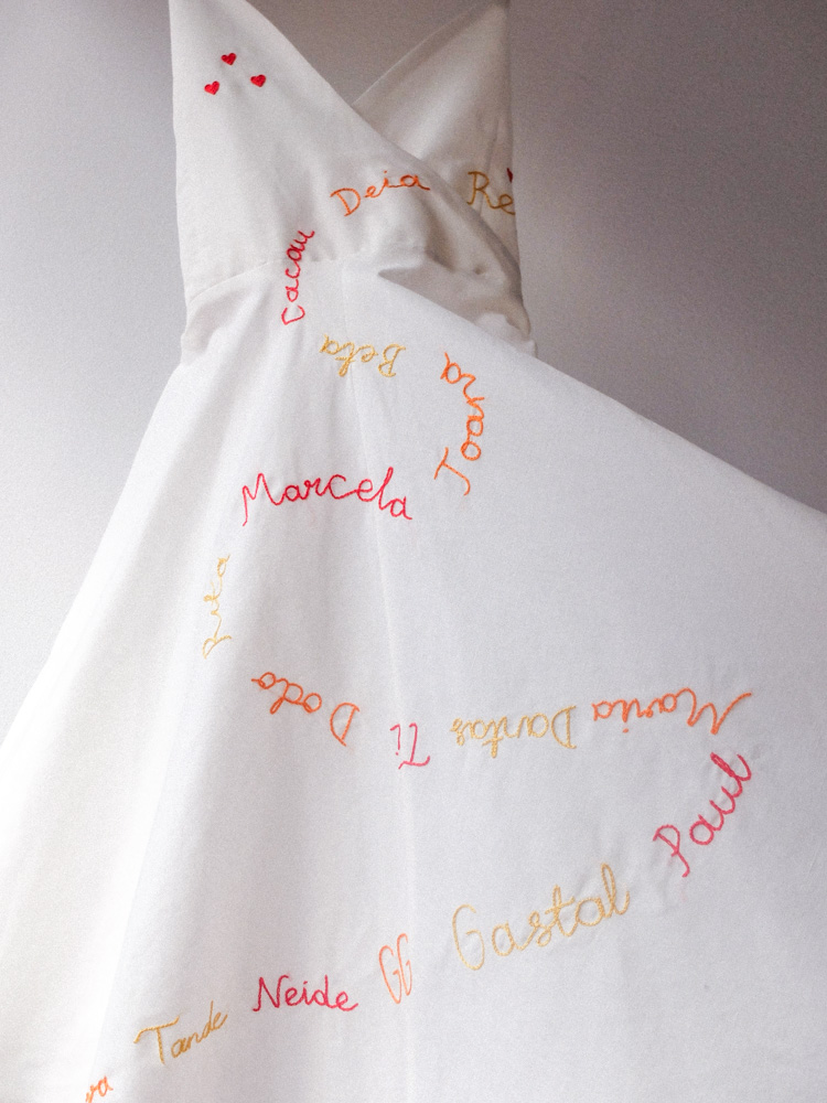 hand embroidery on white dress