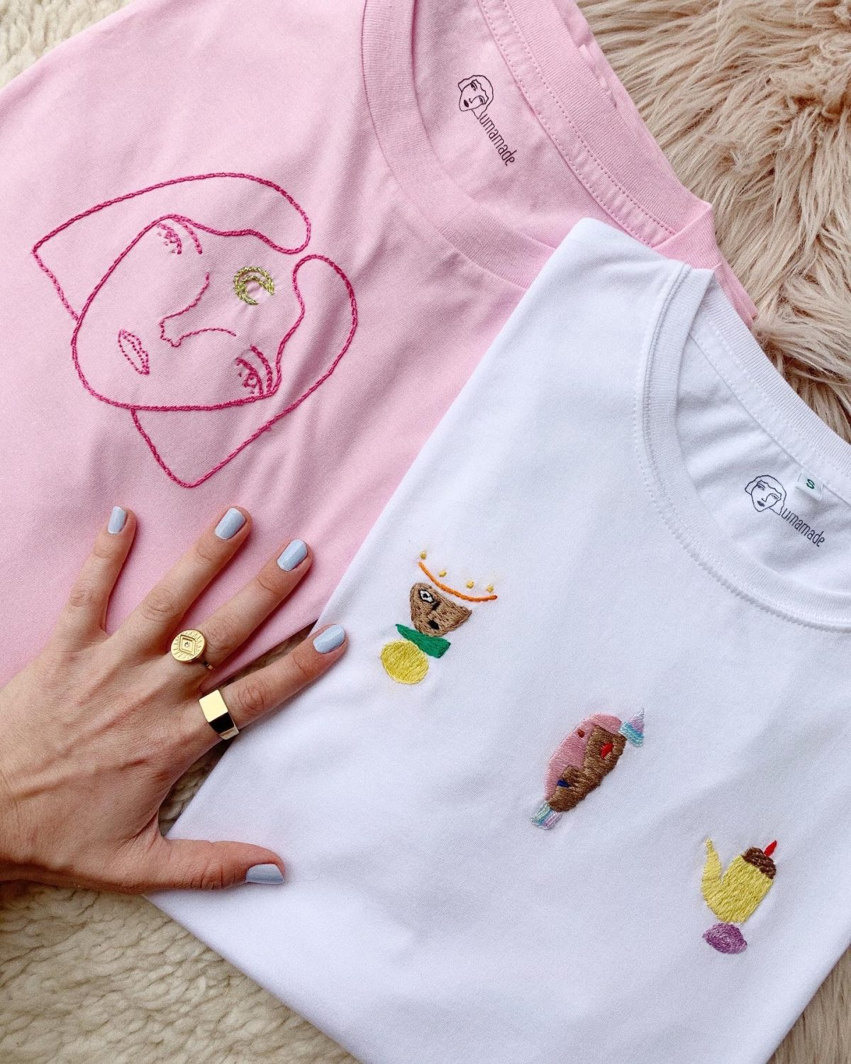 hand embroidery workshop tshirts embroidered