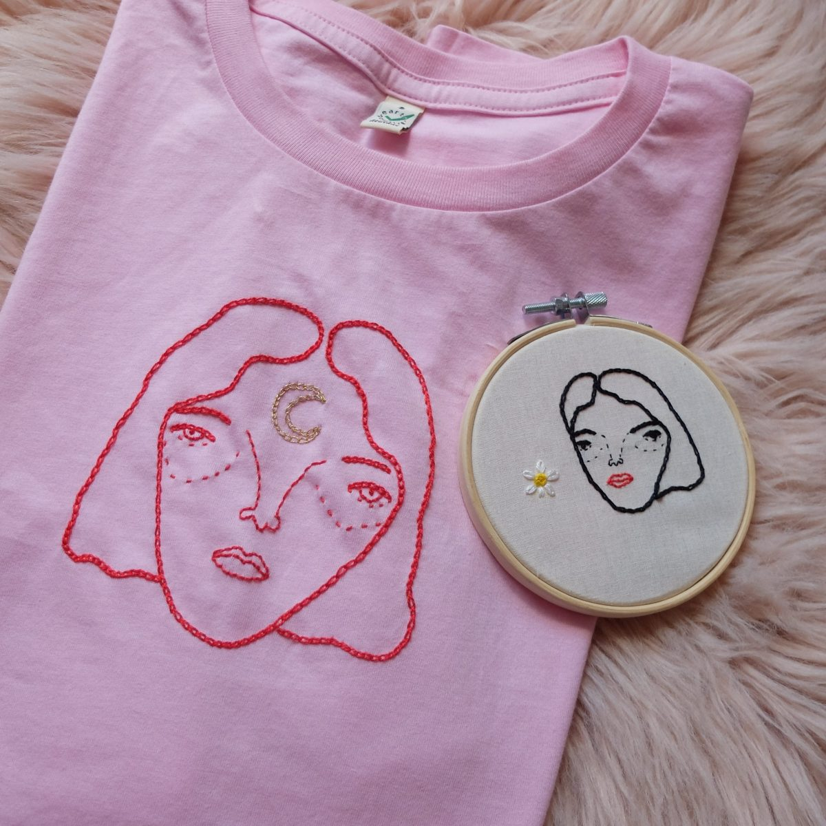 moon face tshirt red embroidery stitches