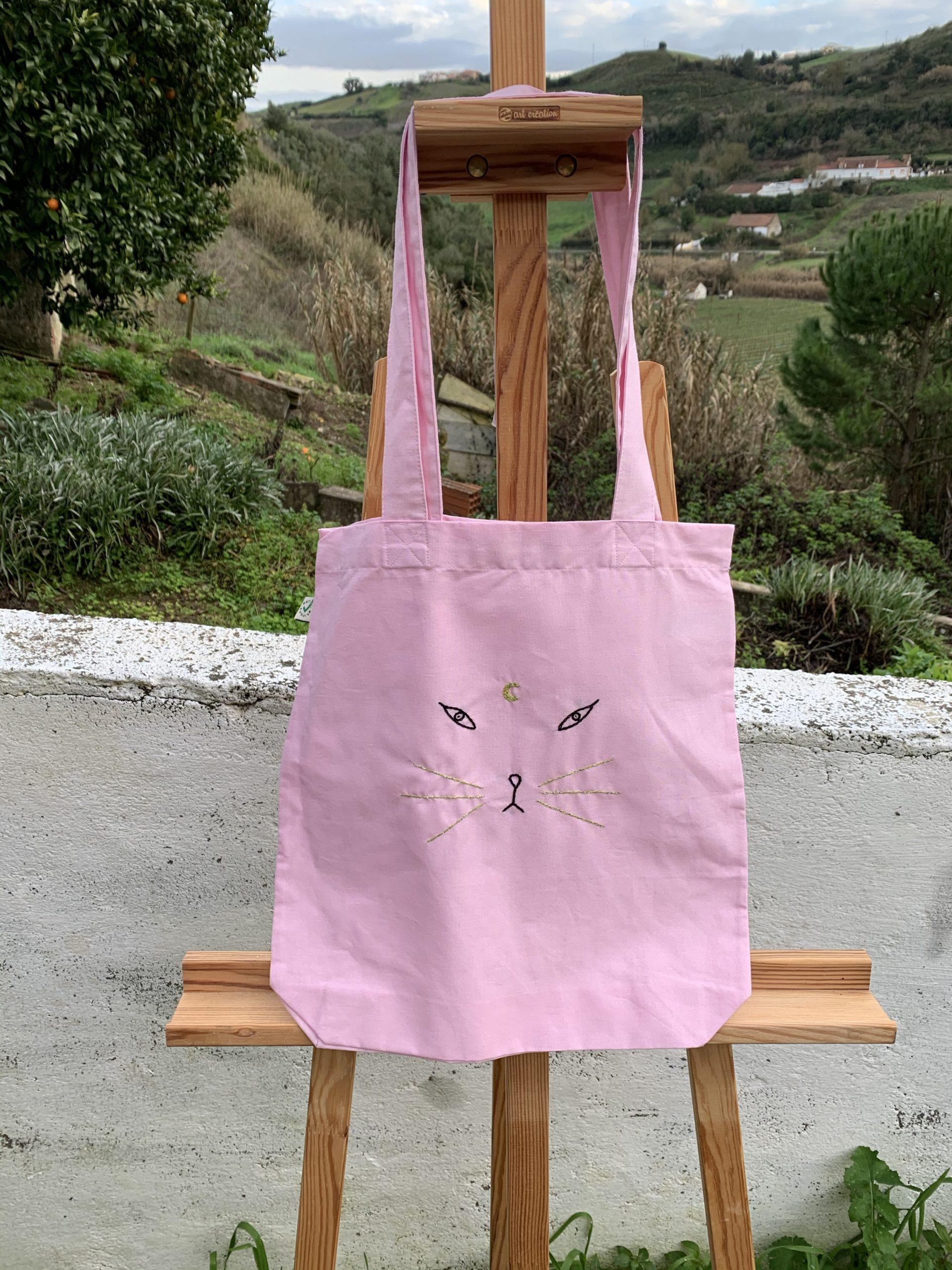 moon cat pink tote bag