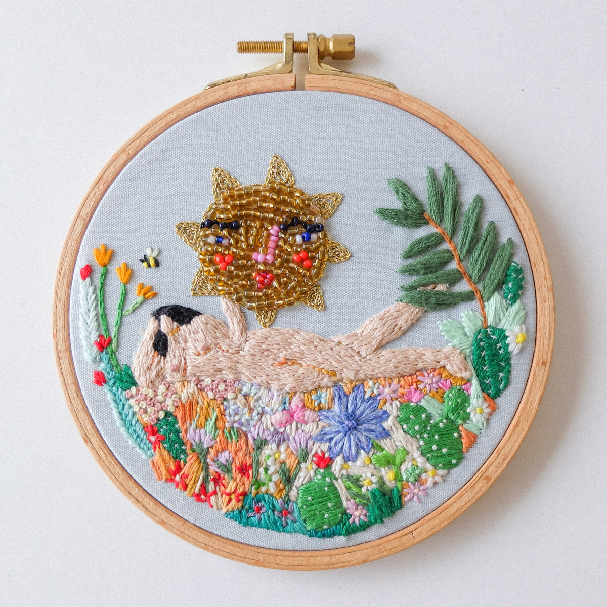 handmade embroidery beaded sun