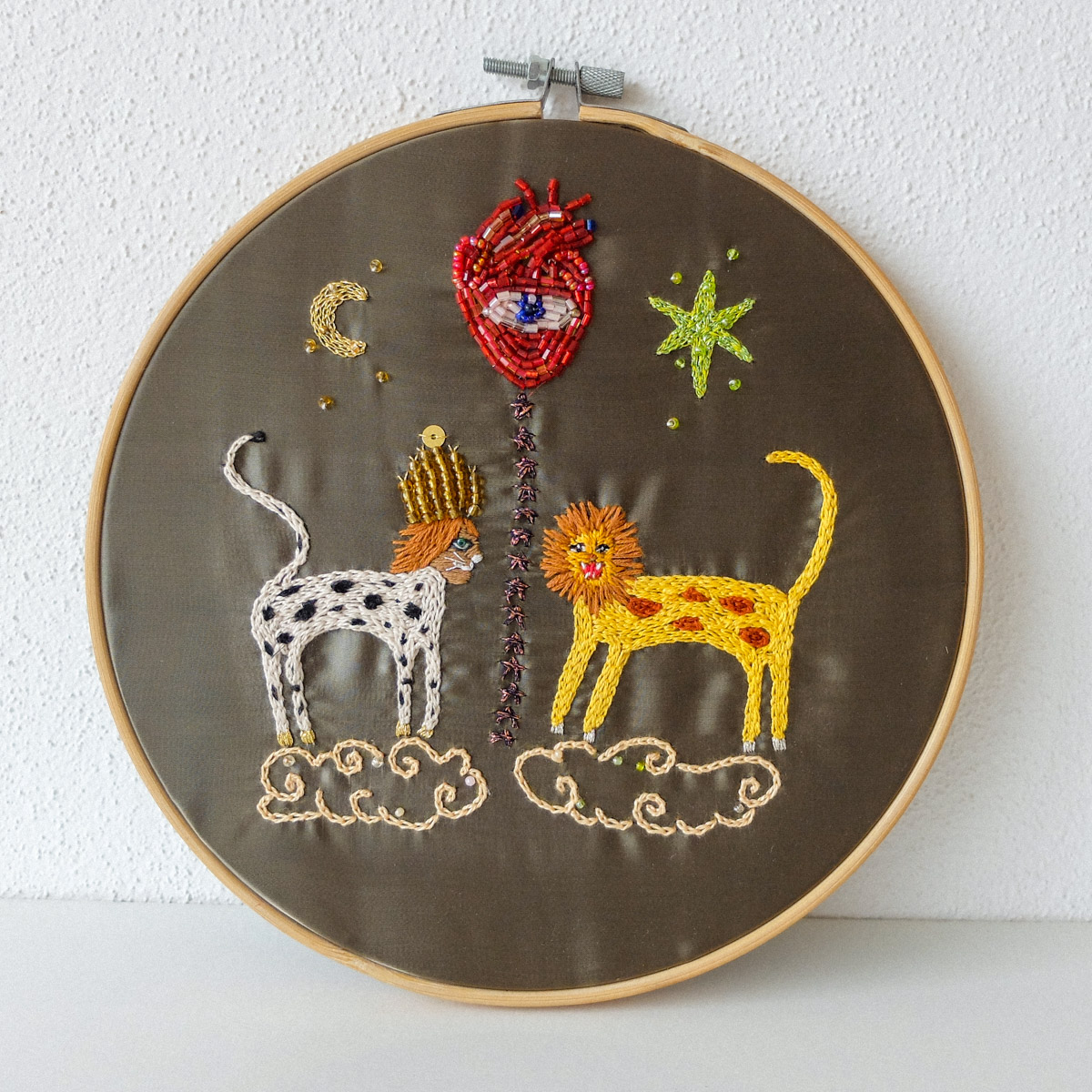 hand embroidery animal friends with beaded heart