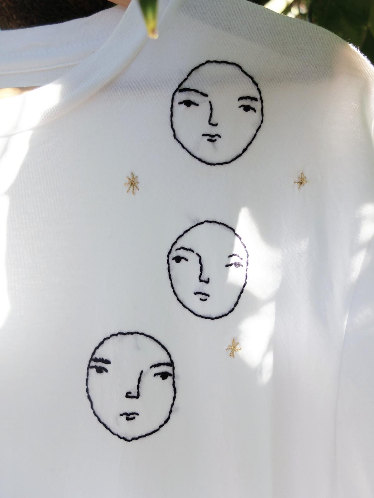 three faces tshirt detail