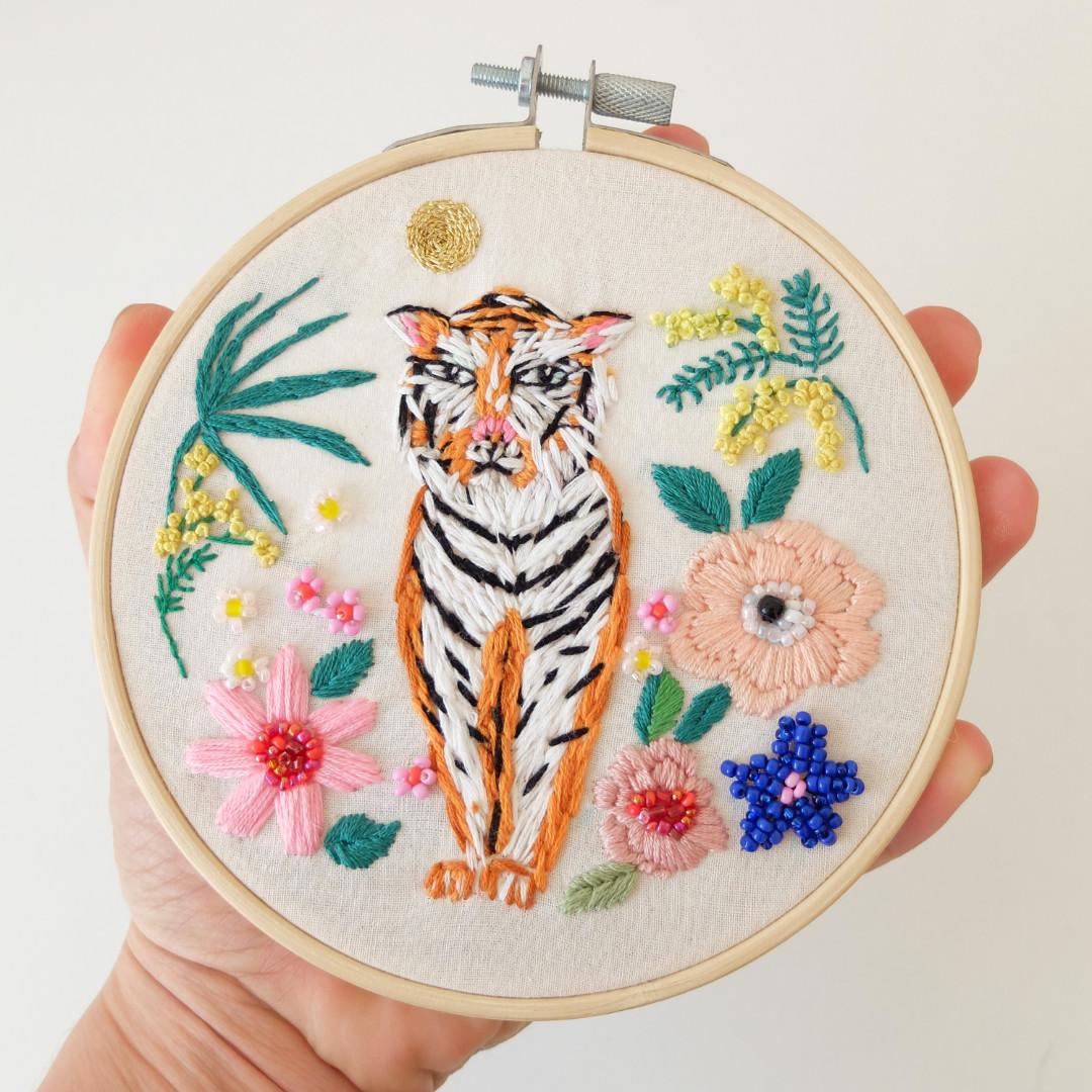 Tiger in full moon