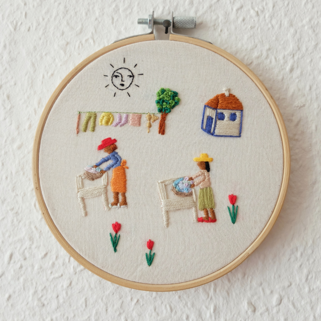 laundry day embroidery
