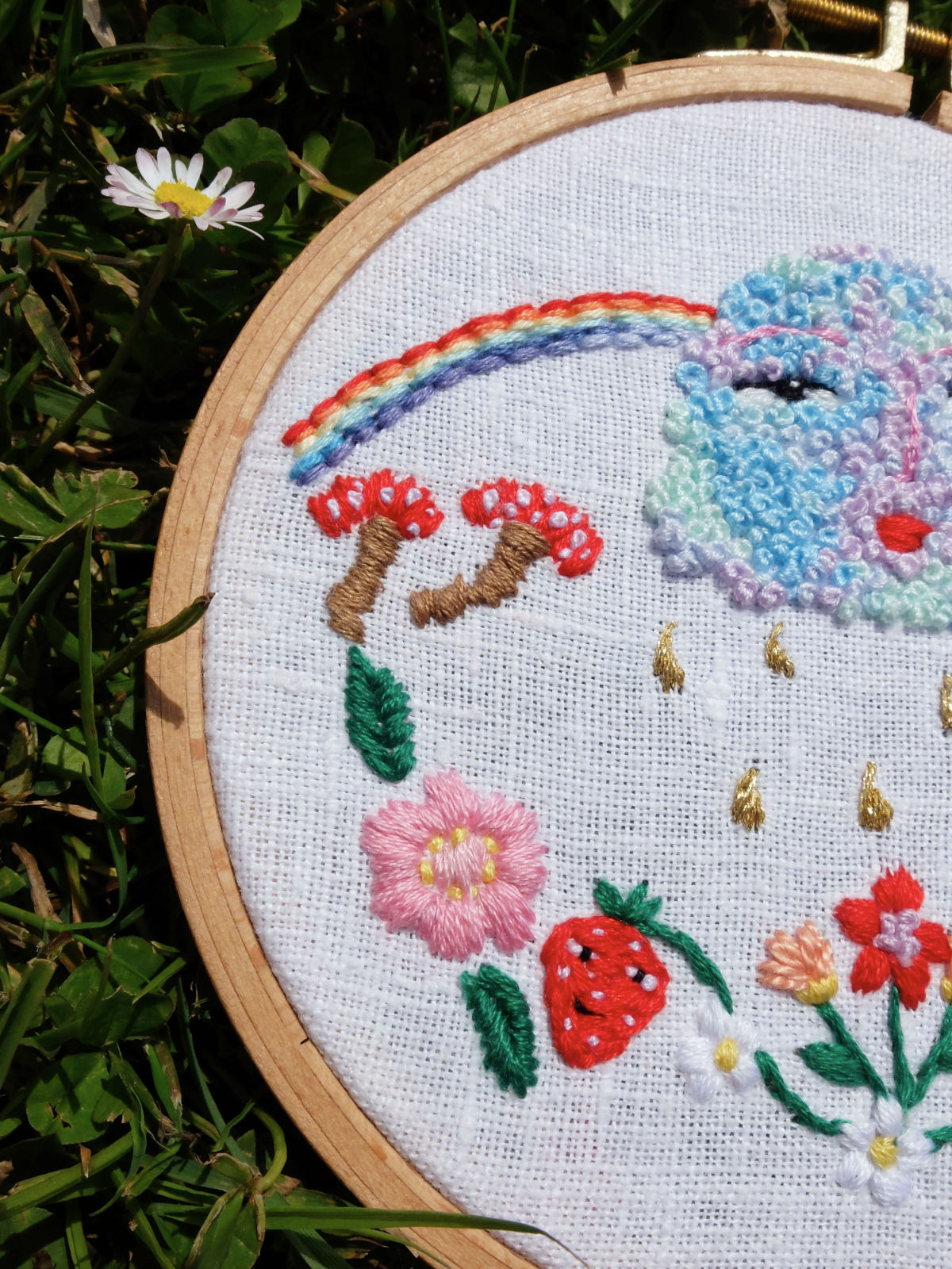 growing together embroidered artwork by umamade