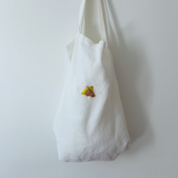 Beaded horse linen tote